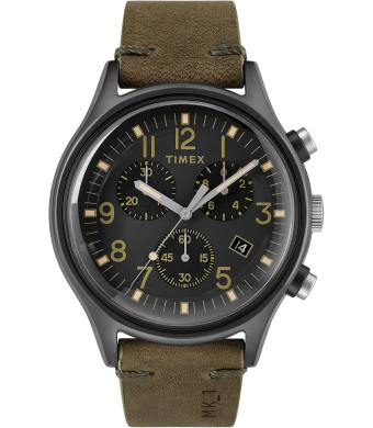 Timex Mens Chronograph Quartz Watch with Leather Strap TW2R96600