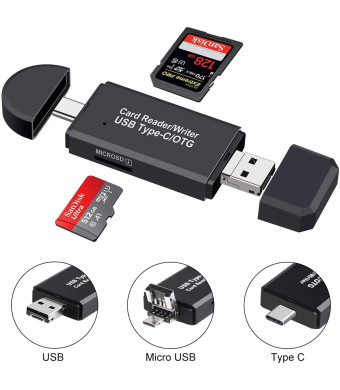 SD Card Reader, Micro SD/TF Compact Flash Card Reader with 3 in 1 USB Type C/Micro USB Male Adapter and OTG Function Portable Memory Card Reader for and PC and Laptop and Smart Phones and Tablets