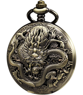 TREEWETO Mens Pocket Watch Antique Skeleton Mechanical Bronze Case 3D Steam Train Railroad Ruman Numerals Gifts for Train Lovers