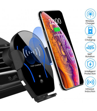 Wireless Car Charger Mount Auto-Clamping Air Vent Car Phone Holder 7.5W Fast Charging Compatible with iPhone 11 Pro Max/XS Max/XS/XR/8 Plus 10W for Samsung Galaxy S10/S9/S8 and Other Qi Smartphone