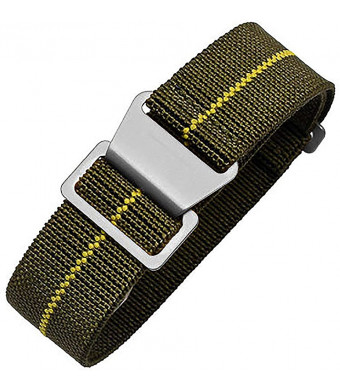 60's French Troops Parachute Special Elastic Nylon Watch Band Man's Universal Nylon Strap Army-Green 20/21/22mm