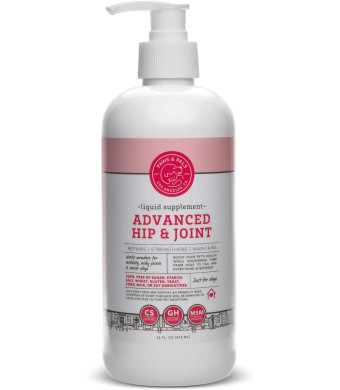 Paws and Pals Hip and Joint Supplement for Dogs, Hip and Joint Pain Relief for Adult/Senior Dog, Improve Mobility, Inflammation and Arthritis, Made in USA with Chondroitin - Glucosamine and MSM - 16 fl. oz