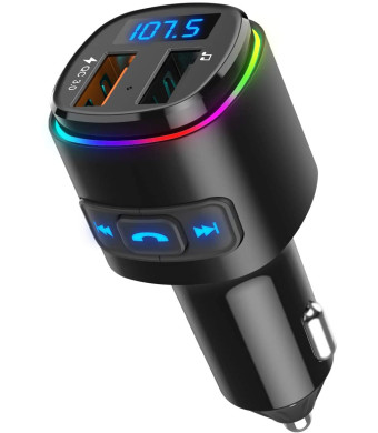 (2020 Upgraded New Version) Bluetooth FM Transmitter for Car, QC3.0 Charge, Dual USB Ports, 7 Color RGB LED Backlit Car Adapter, Support Siri Google Assitant, U Disk, SD Card, Hands-Free Car Kit