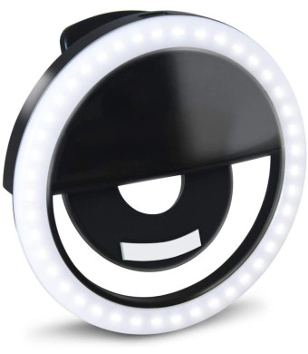 GLOUE Selfie Light Ring Led Circle Clip-on Selfie Fill Light with 36 Led Bubbles USB Rechargeable Portable for iPhone Smart Phones, Pads, Makeup Mirrors-Black 1 Pack