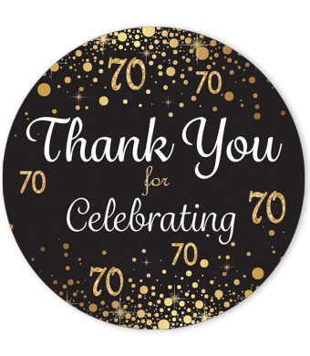 Black and Gold 70th Birthday Thank You Stickers - 1.75 in - 40 Labels
