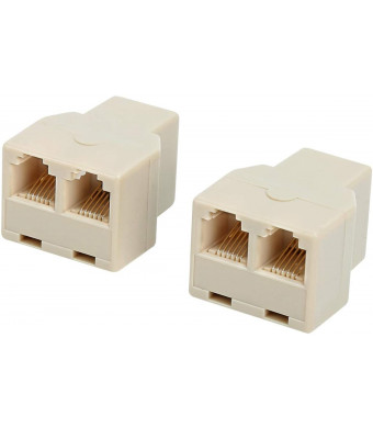 RJ12 6P6C 1 Female to 2 Female Telephone Line Splitters, Uvital Telephone Landline Cable Connector and Separator(Yellow,2 Pack)