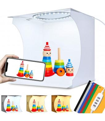 Adjustable Light Photo Studio Box, Mini Photo Light Box, Portable Photography Lighting softbox 6 Color Backdrop kit with Ring White Light 6500K Warm Light 3200K 24cm x 23cm x 23cm