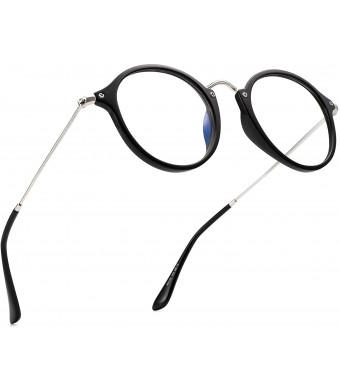 PANNER Blue Light Blocking Glasses Retro Round Computer Glasses Reduce Eye Strain Anti Glare Clear Lens for Women Men(Black)