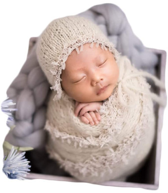Zeroest Baby Photography Props Luxurious Lace Hat with Blanket Newborn Photo Shoot Outfits Infant Princess Photos Hats Wrap Set (Cream)