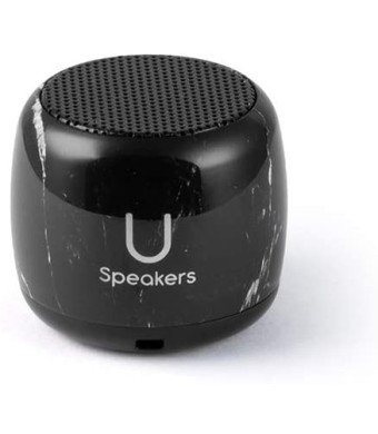 Micro Speaker - Coin-Sized Portable Wireless Bluetooth 4.2 (Black Marble) - TWS Stereo Sound with Built-in Mic and Remote Shutter - 3Hour Playtime, Aluminum - Perfect for Apple iPhone iOS Android