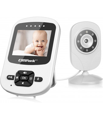 """Campark Video Baby Monitor with Camera and Audio Infant Digital Cam Optics with Infrared Night Vision 2.4"""" LCD 2.4GHz Wireless Two Way Talk Temperature Sensor VOX Auto Wake-up Multi-Camera Connection"""