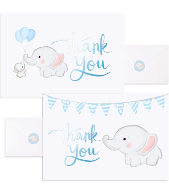 Baby Nest Designs, Baby Shower Thank You Cards Boy. Bulk Set of 50 Elephant Blue Thank You Cards with Envelopes for Small Thank You Notes - Blank Inside Baby Shower Card Pack with Sealing Stickers
