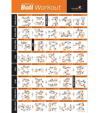 Exercise Ball Poster Laminated - Total Body Workout - Personal Trainer Fitness Program - Swiss, Yoga, Balance and Stability Ball Home Gym Poster - Tone Your Core, Abs, Legs Gluts and Upper Body