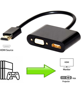 1080P HDMI to VGA HDMI Converter Splitter Cable Adapter with Audio, Active HDMI to VGAandHDMI VideoandAudio Cable Converter Supports HDMIandVGA Out Simultaneously for PS4 Apple TV PC Laptop and More