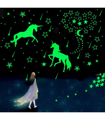 Glow in The Dark Unicorn Wall Decals, Star Ceiling Stickers for Kids Room, DIY Glow in The Dark Stars for Ceiling, Nursery Room and Home Decoration