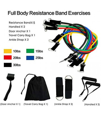 Dezem Resistance Bands Set with Door Anchor-Exercise Bands with Carrying Bag, Legs Ankle Straps for Resistance Training, Physical Therapy, Home Workouts