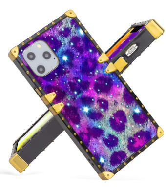 Fiyart Luxury Case iPhone 11 Pro MAX 6.5 inch 2019 Purple Galaxy Leopard Soft TPU Wrapped Edges and Hard PC Back Stylish Classic Retro Cover