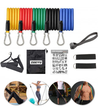 Zehong 11Pcs Fitness Resistance Bands Exercise Ropes Yoga Workout Elastic Pull Rope Belt, Portable Stretching Strength Training Chest Muscle Training Equipment Home Set, Stackable Up to 100 Lbs