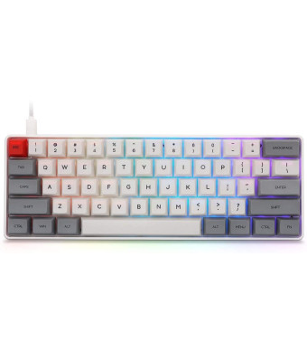 Epomaker SK61 61 Keys Hot Swappable Mechanical Keyboard with RGB Backlit, NKRO, IP6X Waterproof, Type-C Cable for Win/Mac/Gaming (Gateron Optical Black, Grey)