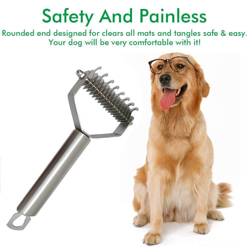Safe Dematting Comb for Easy Mats /& Tangles Removing Pet Grooming Tool No More Nasty Shedding and Flying Hair 2 Sided Undercoat Rake for Cats /& Dogs