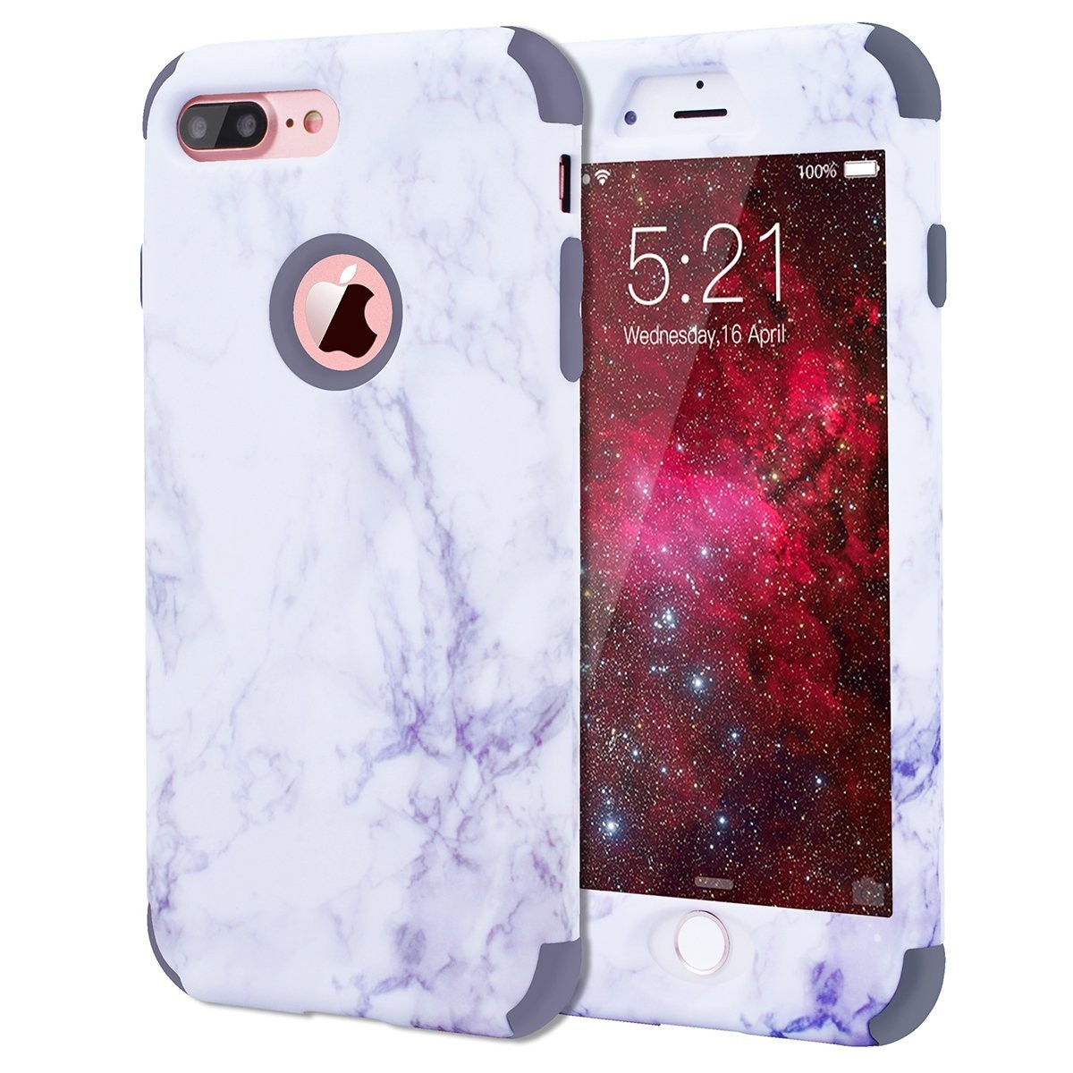 brand new 4274c bca10 iPhone 7 Plus Case, Dexnor Dual Layer Hybrid Marble Hard Case Full Body  Anti Scratch Shock-Absorbing Protective Case for iPhone 7 Plus 5.5'' - Gray