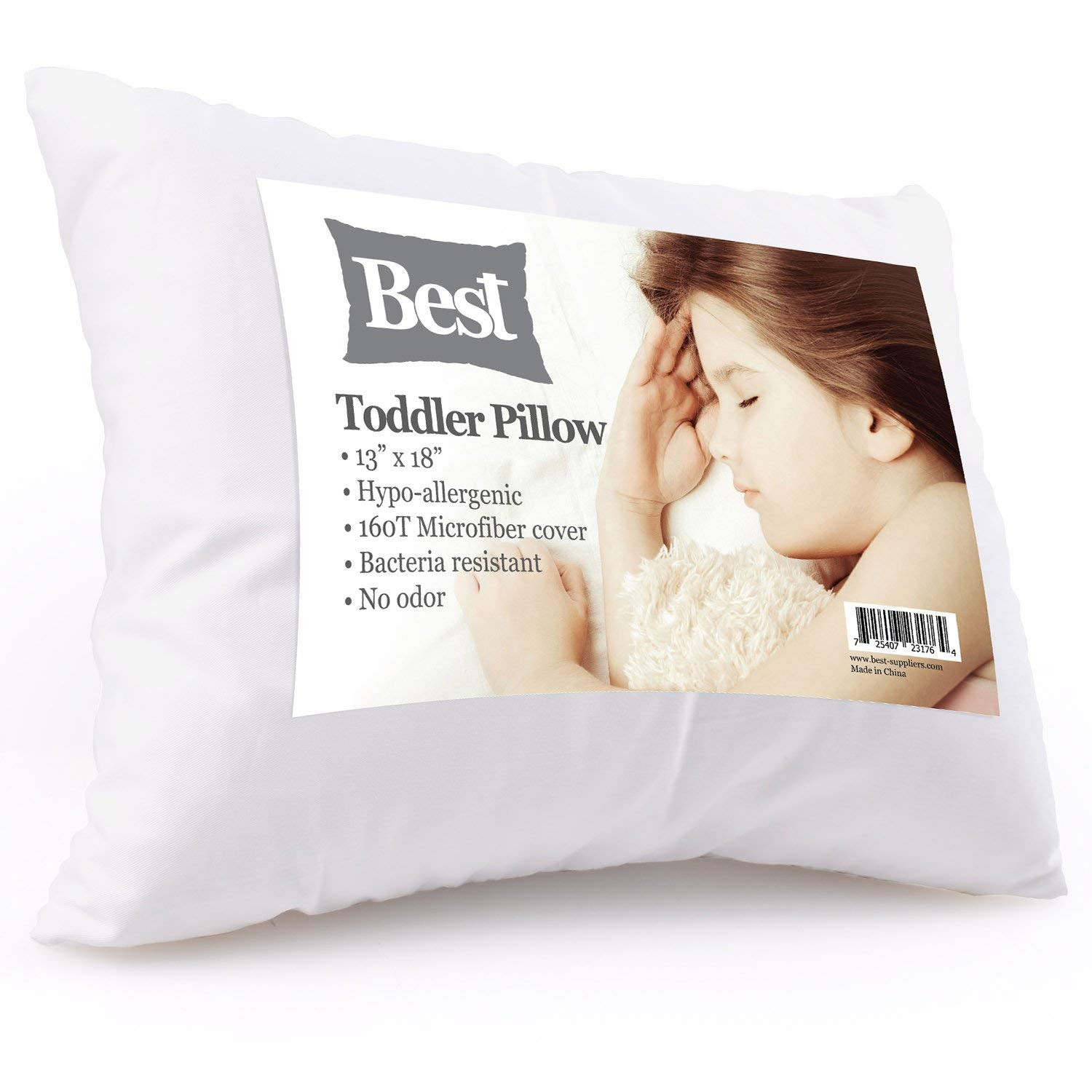 Best Toddler Pillow (INCREDIBY SOFT 100% HYPOALLERGENIC) No Pillowcase Needed! Allergy Free White Microfiber Finish 13x18 Provides Great Back