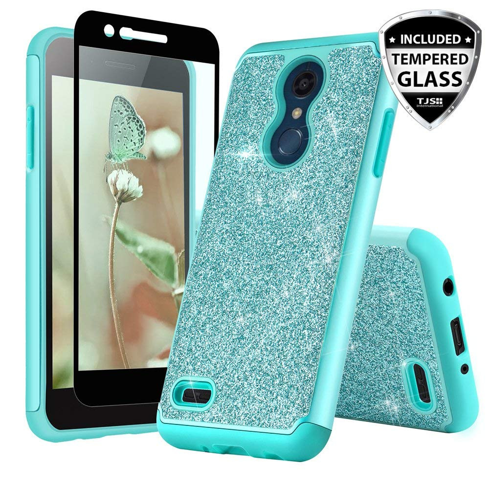 TJS LG K10 2018/K30/Premier Pro LTE/Harmony 2/Phoenix Plus Case, with  [Tempered Glass Screen Protector] Glitter Bling Girls Women Design Dual  Layer