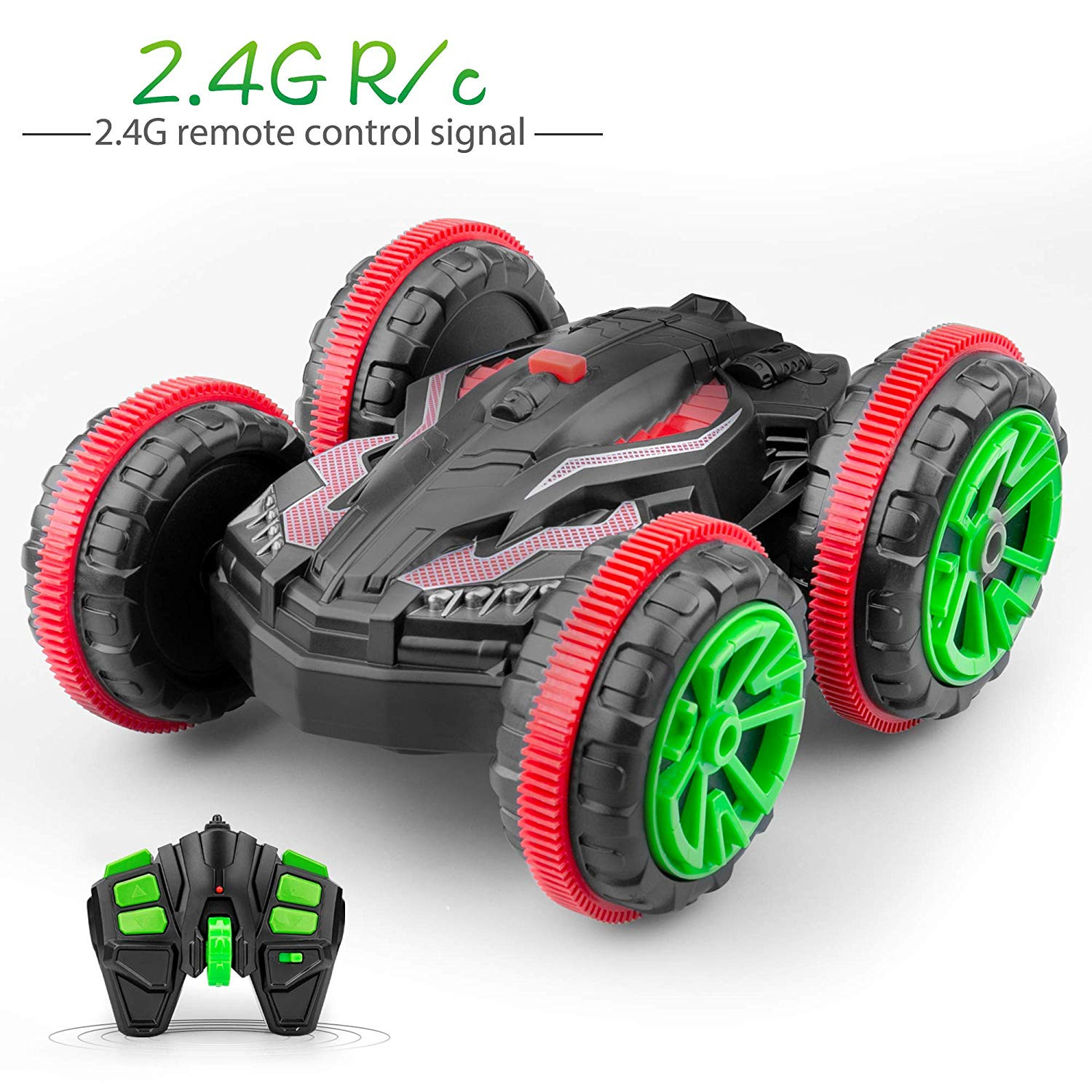 Ezire Remote Control Car, 2.4Ghz 4WD High Speed RC Vehicle Racing Car Toy Gift Double Sided Stunt Car 360 Degree Spins Flips Land and Water Toy Cars