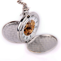 ShoppeWatch Skeleton Pocket Watch Mechanical Movement Hand Wind Full Hunter Silver Tone Engravable - PW20