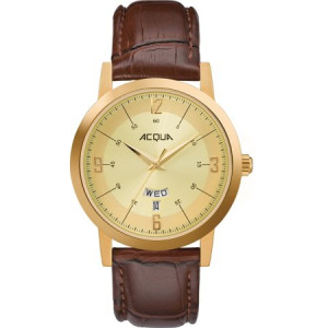 Acqua by Timex Men's Gold-Tone Watch, Brown Leather Strap