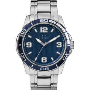 Viewpoint by Timex Men's 43mm Blue Dial Watch, Silver-Tone Bracelet