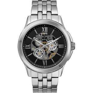 Viewpoint by Timex Men's 42mm Black Dial Watch, Silver-Tone Bracelet