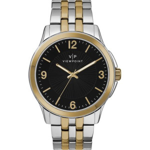Viewpoint by Timex Men's 43mm Black Dial Watch, Two-Tone Bracelet