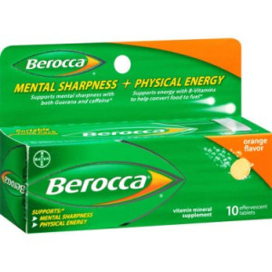 Berocca Orange Flavor Vitamin Mineral Supplement Effervescent Tablets 10 ct Pack