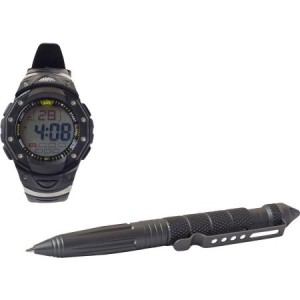 Combo with Aircraft Aluminum Glass Breaker Pen and Digital Watch, UZI, Grey