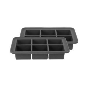 Casabella Big Cube Ice Trays, Set/2, Dark Grey