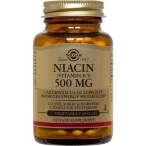 Solgar Niacin Vitamin B3 500 mg Vegetable Capsules, 250 Ct