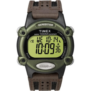 Timex Men's Expedition Digital CAT Watch, Brown Nylon/Leather Strap