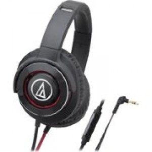 Audio Technica Solid Bass Over-Ear Headphones with In-line Mic & Control - Black/Red ATH-WS770ISBRD
