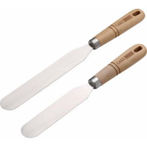 Cake Boss Wooden Tools and Gadgets 2-Piece Stainless Steel Icing Spatula Set