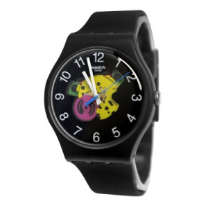Swatch SUOB140 Patchwork Yellow Pink Transparent Dial Black Silicone Band Watch