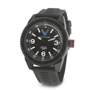 Wrist Armor Men's U.S. Air Force C20 Watch, Black and White Dial, Black Rubber Strap