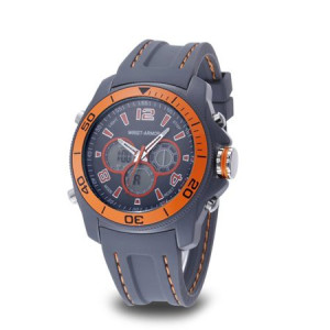Wrist Armor Men's Wrist Armor C29 Multifunction Watch, Grey and Orange Dial, Grey Rubber Strap