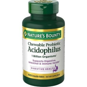 Nature's Bounty Acidophilus with Lactis Dietary Supplement Chewable Wafers, 100 count