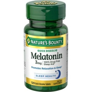 Nature's Bounty Melatonin Dietary Supplement Quick Dissolve Tablets, 3mg, 120 count