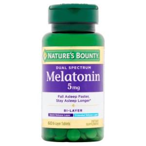 Nature's Bounty Dual Spectrum Melatonin Bi-Layer Tablets, 5mg, 60 count