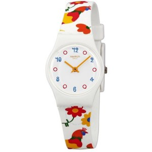 Swatch Polletto White Dial Ladies Multi-Colored Print Watch LW154