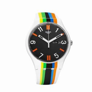 Swatch Unisex Ligne De Fuite 41mm Multicolor Silicone Band Plastic Case Swiss Quartz Analog Watch SUOW708