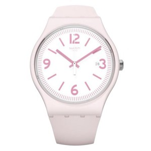 Swatch Unisex English Rose 41mm Pink Silicone Band Plastic Case Swiss Quartz White Dial Watch SUOP400