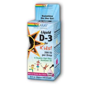Solaray D3 for Kids 200 IU Liquid, 0.5 Fl Oz
